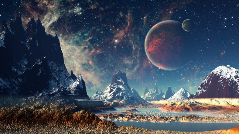 red-planet-snow-fantasy-stars-night-stones-4k-moon-mountains-HD